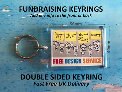 Personalised Fundraising Keyrings - Add Logo Text Image - Raise funds from sales
