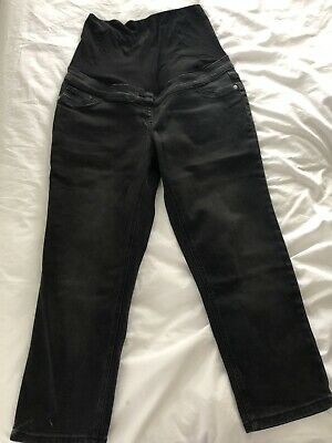 Ladies Next Maternity Black Over the Bump Crop Jeans (Size 12S)