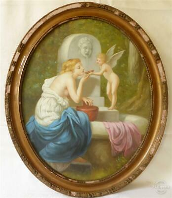 GOOD SIZED ANTIQUE 19TH C VICTORIAN OIL ON CANVAS A YOUNG LADY & CUPID c1880/90