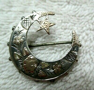 Antique Victorian English Sterling Silver Gold Crescent Moon Pin/Brooch 1890's