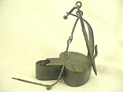 Antique Early 19th Century Forged IRON BETTY GREASE LAMP w/ Hook