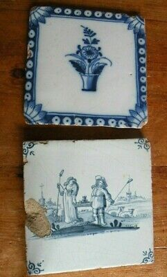 2 Antique Delft Tiles Shepherd Sheep Flowers In Vase 16Th/18Th /19Th C?