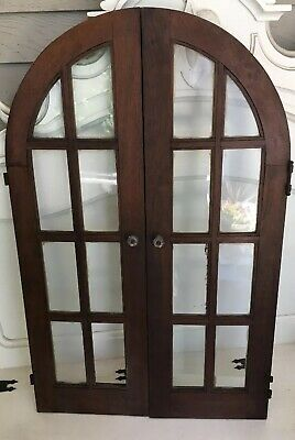 Antique 16 Lite Casement Cupboard  Arched Top Window Cabinet Door Salvage Chic