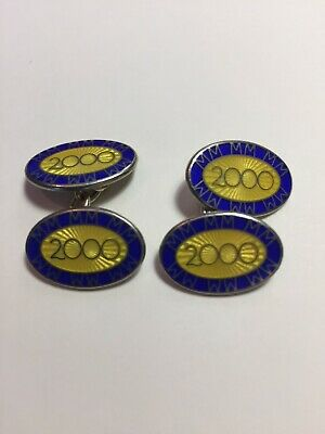 Longmire silver oval chain cufflinks with blue and yellow enamel - year 2000.