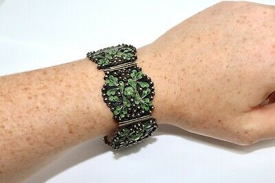A Fine Antique Art Deco Sterling Silver Enamelled Filigree Panel Bracelet #13987