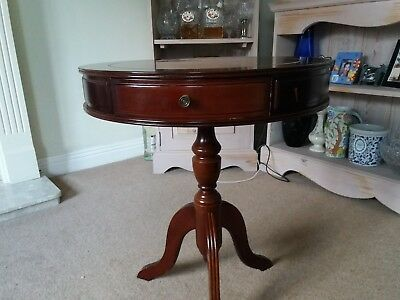 Antique vintage mahogany drum table - 3 drawers