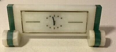 Art Deco Mantle Clock Green Aventurine Collectible