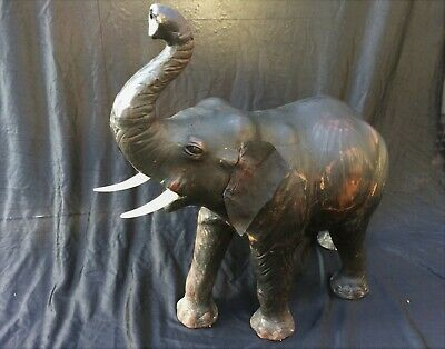 "Large Vintage Leather Elephant Sculpture, 20"" Tall Model, Mid 20th Century"