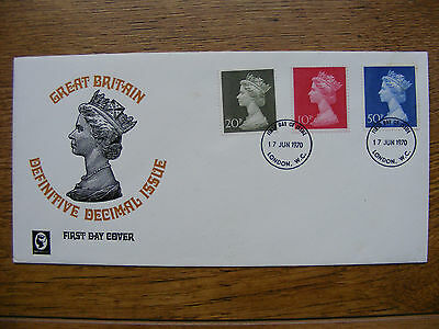 GB FDC 1970 10p 20p 50p FDI - Red has bled into the White edges. Ex/Cond