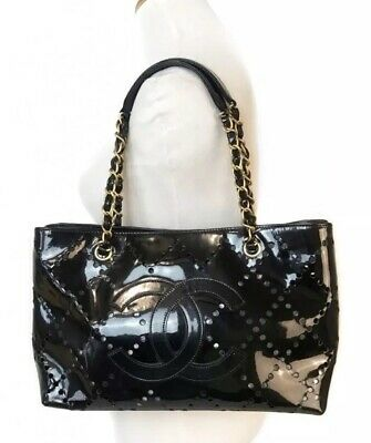 Authentic CHANEL CC LOGO PATENT Leather Black Vintage TOTE~US SELLER
