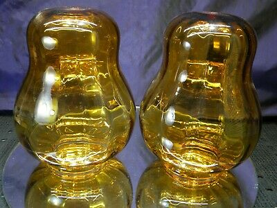 PAIR Vintage Amber Retro Mid Century Modern Glass Swag Lamp Globes