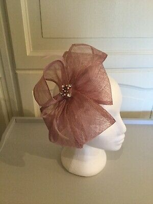 Very Unusual Pink Lilac Fascinator With Diamante Detail; Wedding Races