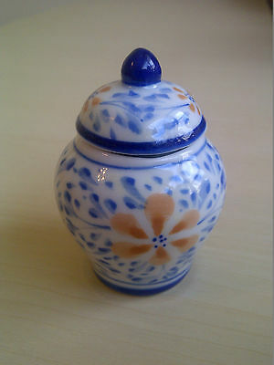 Very pretty, decorative mini pottery vase with lid, earthenware, unmarked