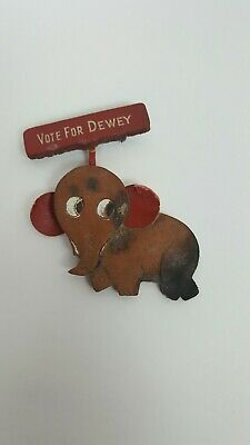 "Rare  Vintage  ""Vote For Dewey""  Leather Campaign Pin Elephant Political"