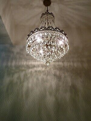 Vintage Brass & Crystal Old Basket Chandelier (41 cm. Diameter)