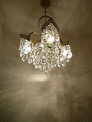 Vintage 4 light Brass and Crystal Old Chandelier