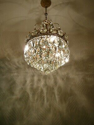 Vintage Brass and Crystal Old Basket Chandelier / Lamp