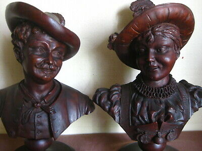 ANTIQUE BLACK FOREST WOOD WOODEN CARVING AUSTRIAN LIFE BUST MAN & WOMEN 1900s