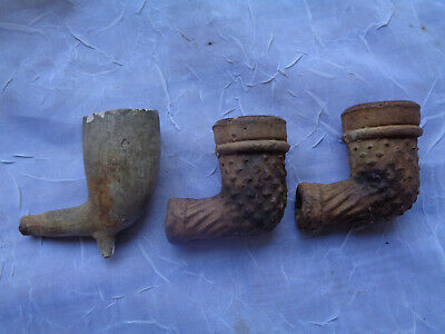 ANTIQUE CLAY PIPE BOWLS Estate TOBACCO SMOKING Pipe USED PARTS OLD