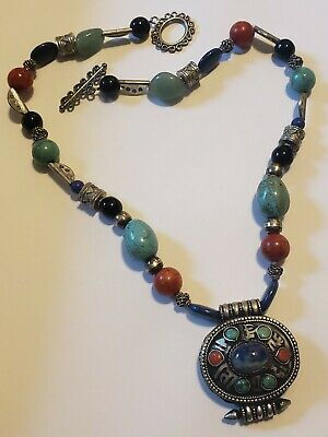 Modern silver lapis turquoise and coral necklace with pendant