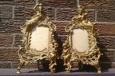 antique pair French baroque/rococo style ormolu photo frames (14 × 7 inches )