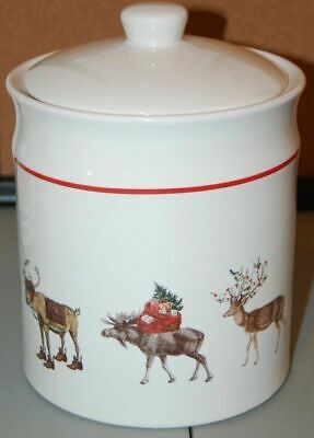 NEW Pottery Barn 2PC Silly Stag Buck Reindeer Stoneware Cookie Jar Christmas NWT