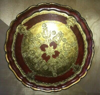 Vintage Italian Hand Made Painted Red Gold Gilt Wood Tray Aram 1960's Florence