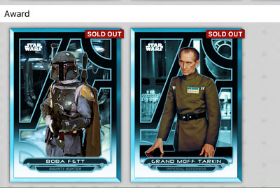 Topps Star Wars Card Trader SWCT Galactic Files 2018 Blue Wave 3 + 2 Awards