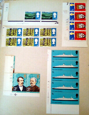 GB QE2 Cylinder Block strips from 1966-1973 Commemorative. MNH and M see photos