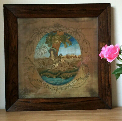 Antique 1800's Silk Work Embroidery Lady ~ rosewood framed Georgian Picture Art