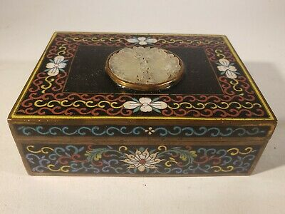 Antique Chinese cloisonne enamel and carved Jade table Box