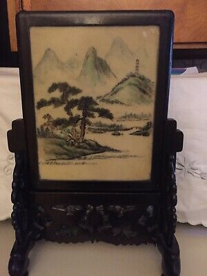 Antique Chinese Oriental Decorative Table Screen With Ornate Wood Stand 2 Scenes