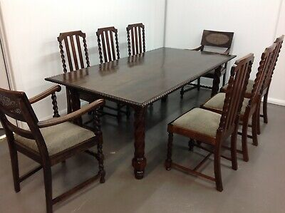 Antique Jacobean Table And 8 Chairs