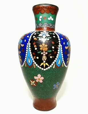 Early 20Th C Antique Chinese Decorated Cloisonne Vase, W/Scalloped Floral Design