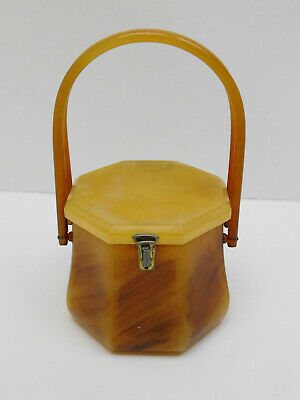 Vtg Rialto NY Lucite Bakelite Octagon Shaped Box Purse Handbag Case Butterscotch