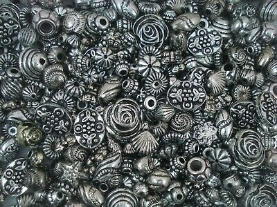 Beads Antique Silver Shapes 25g Plastic Spacers Jewellery Jewelry FREE POSTAGE