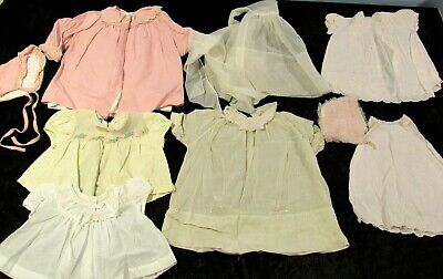 VINTAGE1960s/70s Lot of 9 BABY/Doll Clothes DRESSES+ 6-24 Month SIZE Shear