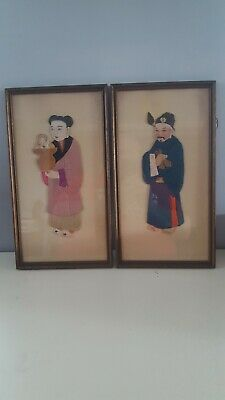 "Vintage Pair Of 3D Chinese Wall Art--Framed 3D Pictures--Approx 16"" X 9"""
