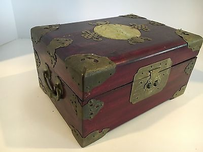 Vintage Ornate Oriental/Chinese Wood Jewelry Box Accents & Carved Jade on Top