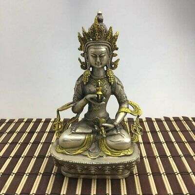 China old copper plating silver Gilt Buddhism Statue --Green Tara Buddha e02