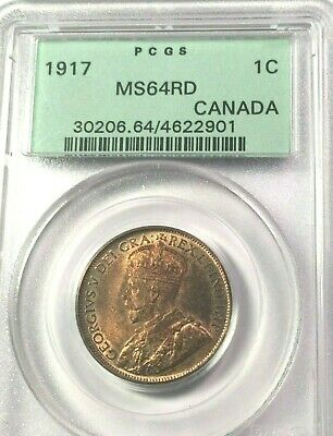 CANADA 1917 LARGE CENT, GEORGE V, PCGS MS64RD, MS64 RED, Brilliant, POP 19