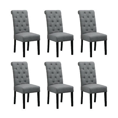 6x Button Tuft Dining Chair Parsons Padded Seat Pine Wood Legs Linen Fabric Home