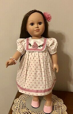 """Beautiful Pink & White Dress  W/Embroidered Flowers For18"""" or American Girl Doll"""