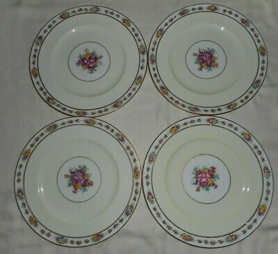 Set of 4 Rare Antique CAULDON England Dinner Plates Gold Trim Floral Dish V3666