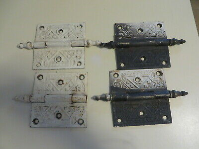 "VINTAGE 4  Cast Ornate Victorian Eastlake Door Hinge 3-1/2"" x 3-1/2"""
