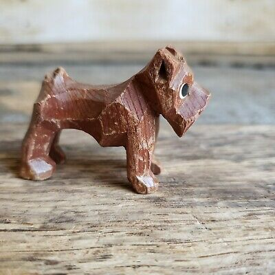 Antique Folk Art Hand carved painted Miniature Wood Dog Figurine