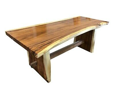 """83"""" Dining Table,Live Edge Solid Suar Wood,Slab Legs Natural Smooth, SW058"""