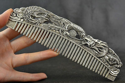Chinese Old Decoration Collectibles Handwork Tibet Silver Carving Dragon Comb RN