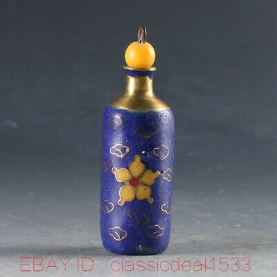 Chinese Cloisonne Handwork Carved Flower Snuff Bottle MY0246