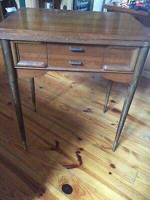 Mid Century Singer Sewing Machine Cabinet Tapered Legs Slant O Matic